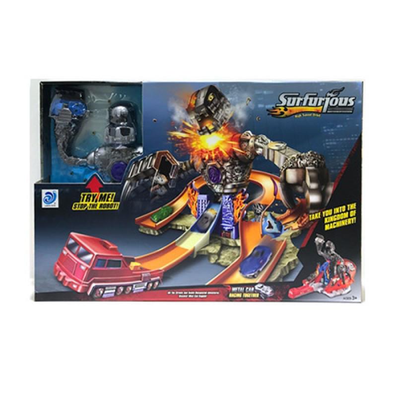 Трек копия Хот Вил Hot Wheel Атака робота гиганта, трек - запуск с роботом, 9988-2