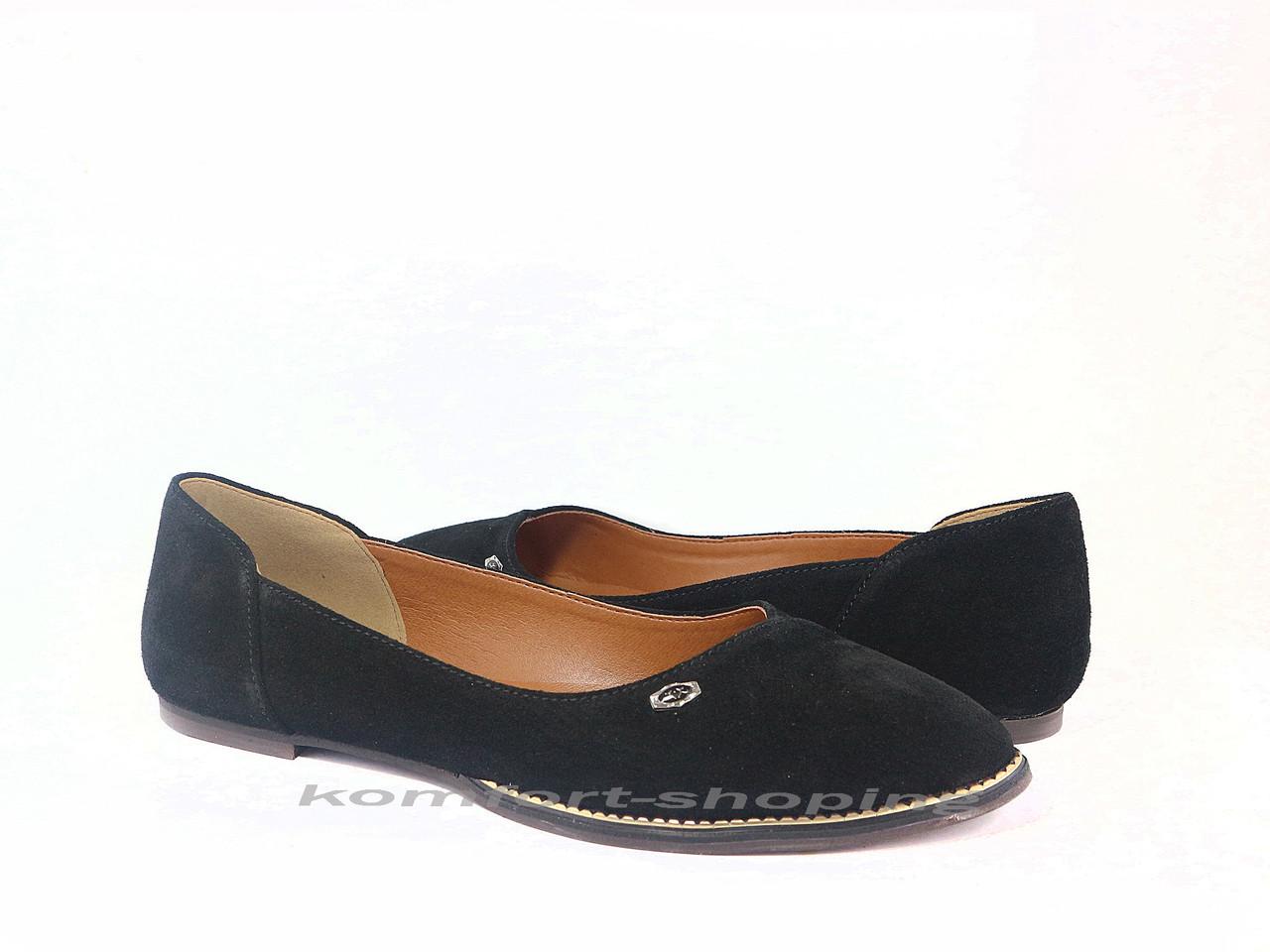 Балетки  женские замшевые, черные  V 1196
