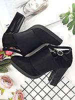 Ботильоны Ada черные замшевые на устойчивом каблуке с резинкой