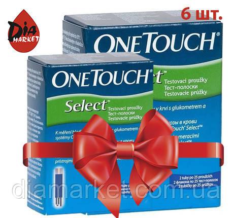 Тест-полоски ВанТач Селект (OneTouch Select) - 6 упаковок по 50 шт.