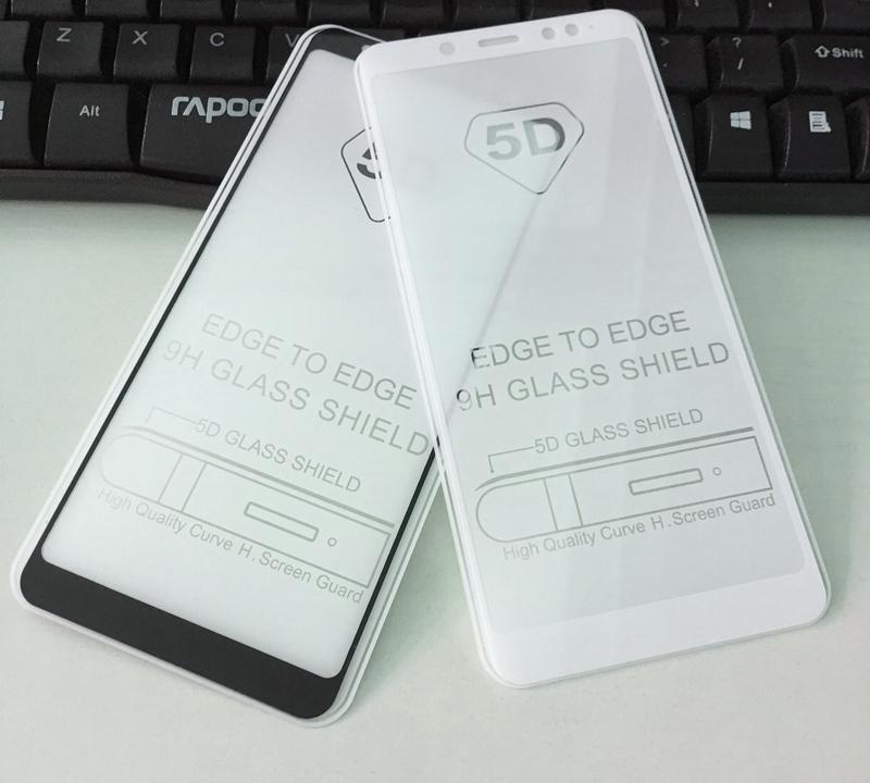 Захисне і загартоване скло FULL GLUE GLASS (повний кл) для смартфона Xiaomi Redmi Note 5/5 PRO з білою рамкою