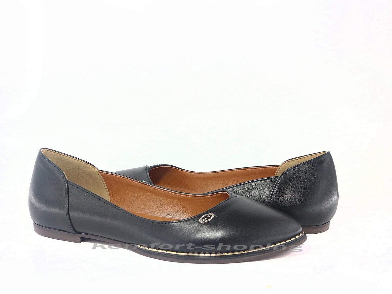 Балетки  женские кожаные черные V 1196