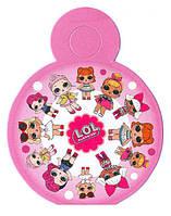 """Медали картонные куклы  """"L.O.L"""". В упак: 10 шт. Диаметр: 75 мм. розовые"""