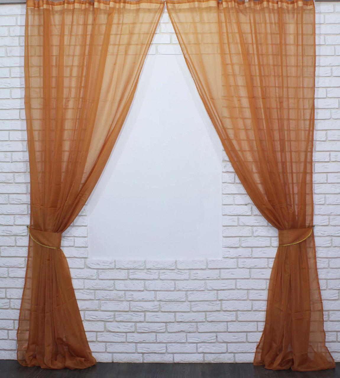 Комплект декоративных штор из шифона, цвет кофейный. 006дк