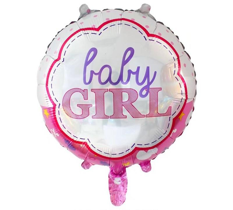 Шар круг фольгированный, BABY GIRL - 45 см (18 дюймов)