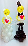 """Свадебная композиция из воздушных шаров """"Жених и невеста"""""""