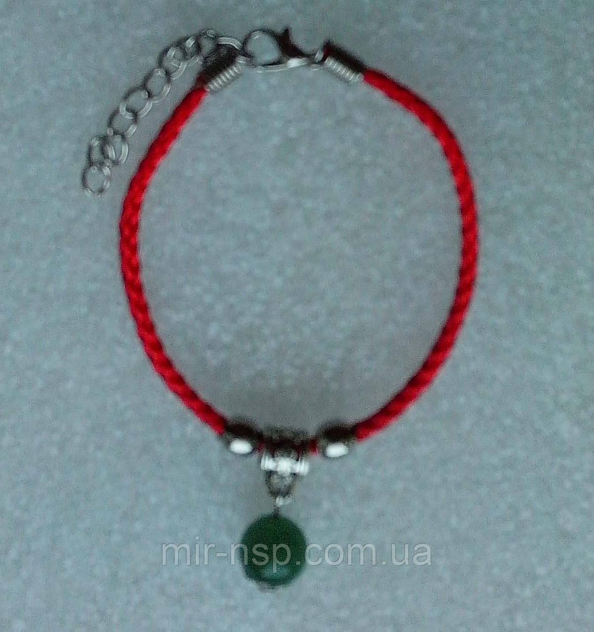 Красная нить оберег натуральный камень Нефрит 10 мм
