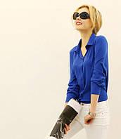 Женская повседневная блузка-рубашка шифон длинный рукав белая электрик красная., фото 1