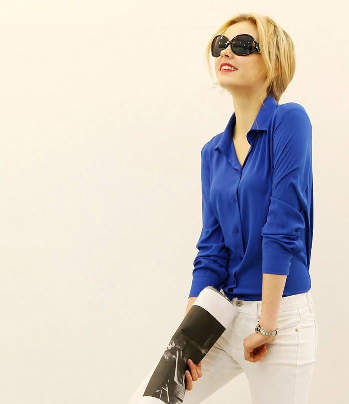 Женская повседневная блузка-рубашка шифон длинный рукав белая электрик красная.
