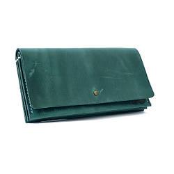 """Кожаный кошелёк """"Accordion"""" с большим карманом для мелочи или жетонов зелёного цвета. Ручная работа"""