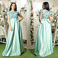 c305b63a485 Шикарное выпускное длинное платье мятное атласное с пайетками