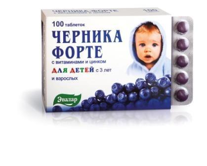 Черника форте с витаминами и цинком (для детей) Эвалар 100таб.