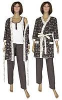 NEW! Теплі жіночі комплекти (піжама з брюками і халат) серії Mindal Soft Venzel Brown ТМ УКРТРИКОТАЖ!