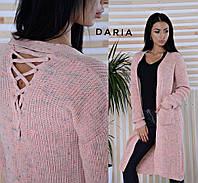 Кардиган вязаный стильный с карманами и шнуровкой на спине разные цвета Pch105, фото 1