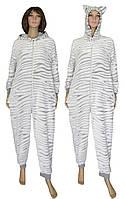 Пижама кигуруми женская махровая (комбинезон) с ушками 18063 Gulliver Шиншилла, р.р.42-52