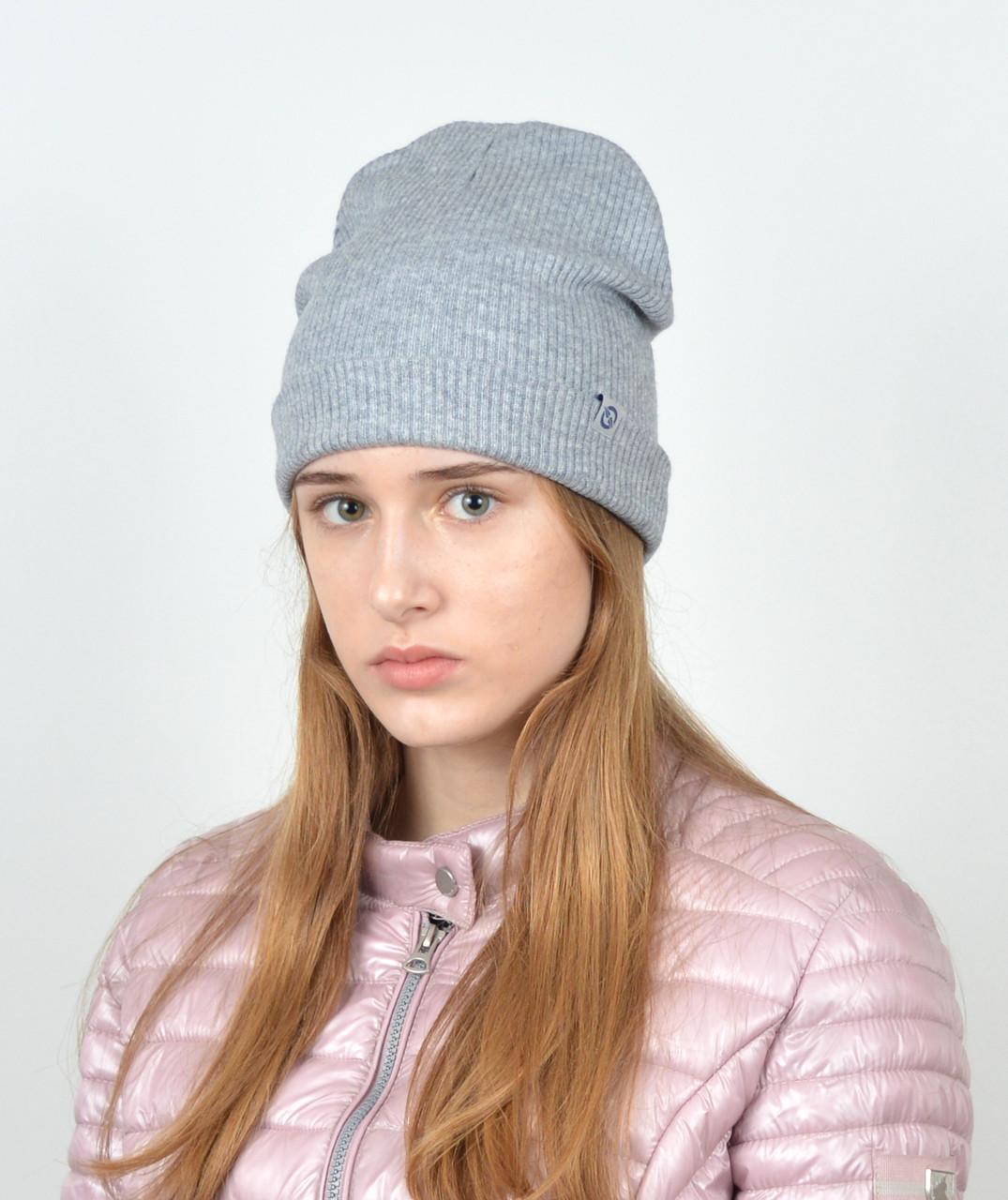 Трикотажная шапка ангора рубчик. gr-18002