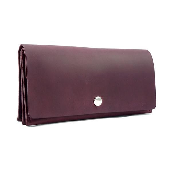 """Кожаный кошелёк """"Accordion"""" бордового цвета. Ручная работа"""