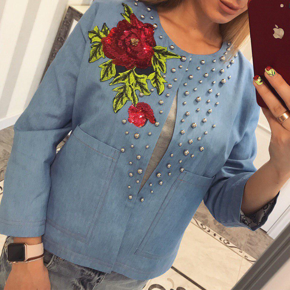 7a083f0f1936 Джинсовый пиджак нашивка+жемчуг  продажа, цена в Харькове. свитеры и ...