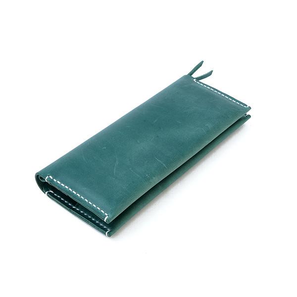 """Женский кожаный кошелёк """"Organ"""" зелёного цвета. Ручная работа"""