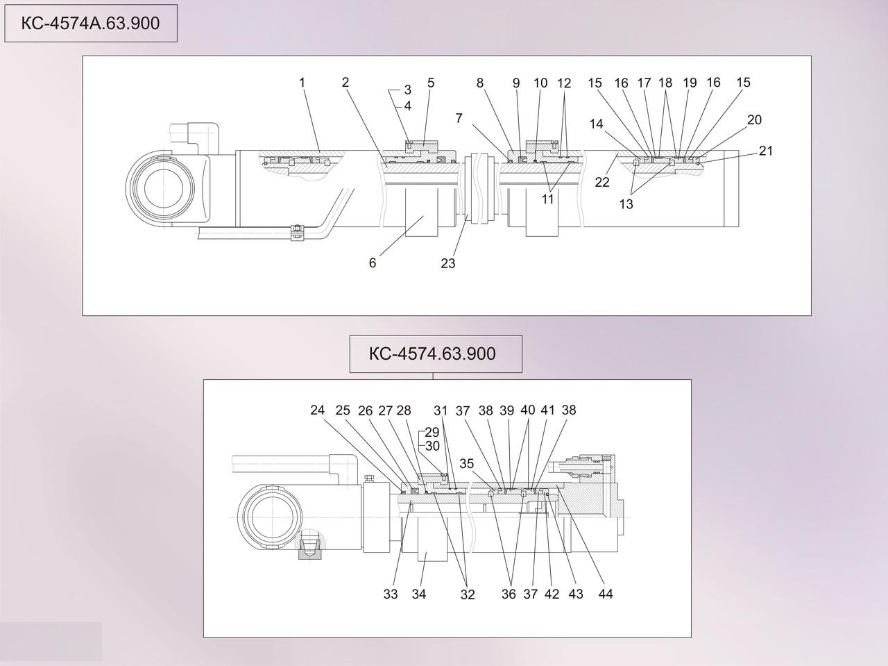 Гидроцилиндр выдвижения стрелы  автокрана КТА-25