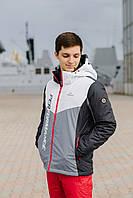 Лыжная куртка мужская белая-серая-красная 8138