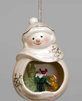 Фарфоровая подвеска на елку Веселый Снеговик