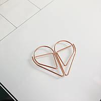 Скріпка - краплинка - рожеве золото. 3,3х1,8 см.