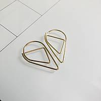 Скріпка - краплинка - золото. 3,3х1,8 см.