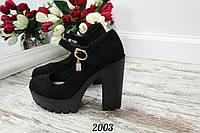 Женские черные туфли на каблуке  Vestaэко-замш