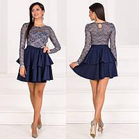 """Синее коктейльное платье верх гипюр """"Мальта"""", фото 1"""