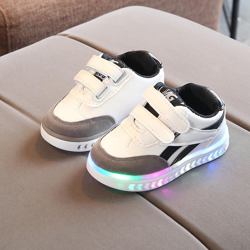 352e5eca White&Gray kids, Белые с серым светящиеся кроссовки LED, размер 21-30(LK