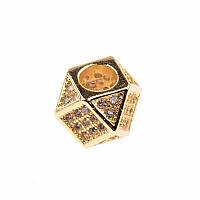 Бусина, многоугольник золото, фото 1