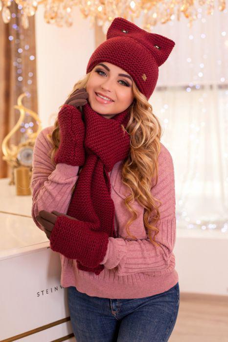 Зимний женский комплект «Габриэлла» (шапка, шарф и перчатки)