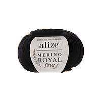 Alize Merino Royal Fine (Ализе Мерино Рояль Файн) черный №60 (Пряжа, нитки для вязания)