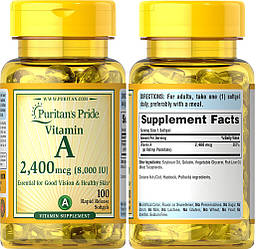 Puritan's Pride, Витамин А, 8000 МЕ, 100 капсул