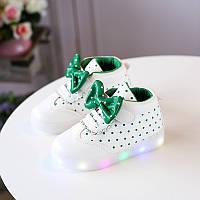 Green Bow kids, Белые с зеленым светящиеся кроссовки LED, размер 23,26,27 (LK 1024)