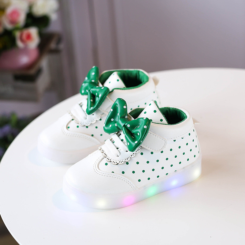 69e4711b Green Bow kids, Белые с зеленым светящиеся кроссовки LED, размер 26 (LK 1024