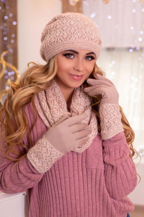 Зимний женский комплект «Верона» (шапка, снуд и перчатки) Кремовый