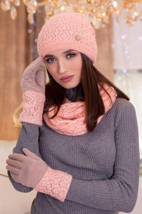 Зимний женский комплект «Верона» (шапка, снуд и перчатки) Сомон