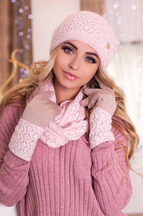 Зимний женский комплект «Верона» (шапка, снуд и перчатки) Пудра