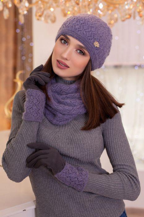 Зимний женский комплект «Верона» (шапка, снуд и перчатки) Маренго