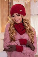 Зимний женский комплект «Верона» (шапка, снуд и перчатки) Гранатовый