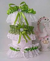 Свадебная подвязка невесты 04 зеленая