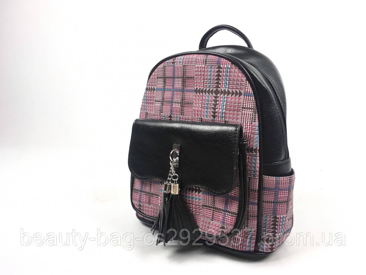 Рюкзак молодежный 7603 черный-розовый black-pink