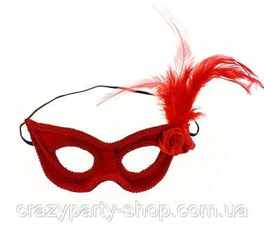 Маска карнавальная бальная  красная