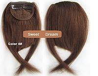 Накладная челка из натуральных волос, на двух заколках-клипсах, цвет - №4