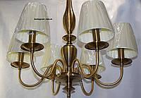 Классическая подвесная люстра с тканевыми абажурами 6 ламп матовое золото