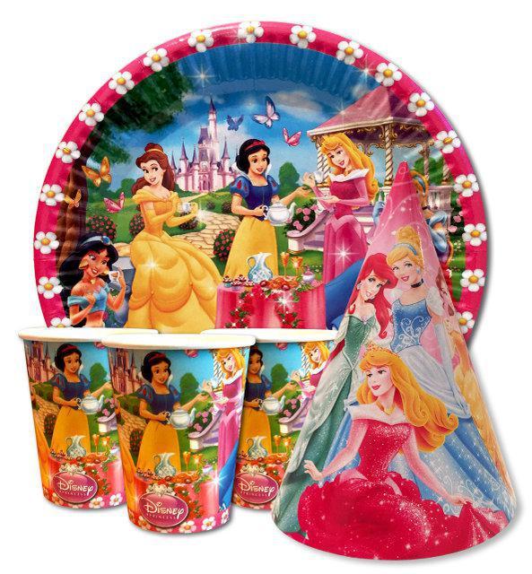 Набор для детского дня рождения  Принцессы 10 тарелок , 10 стаканчиков , 10 колпачков