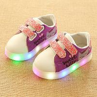 Cat Violet kids, Фиолетовый кот светящиеся кроссовки LED, размер 22,24,25,27,30 (LK 1028)