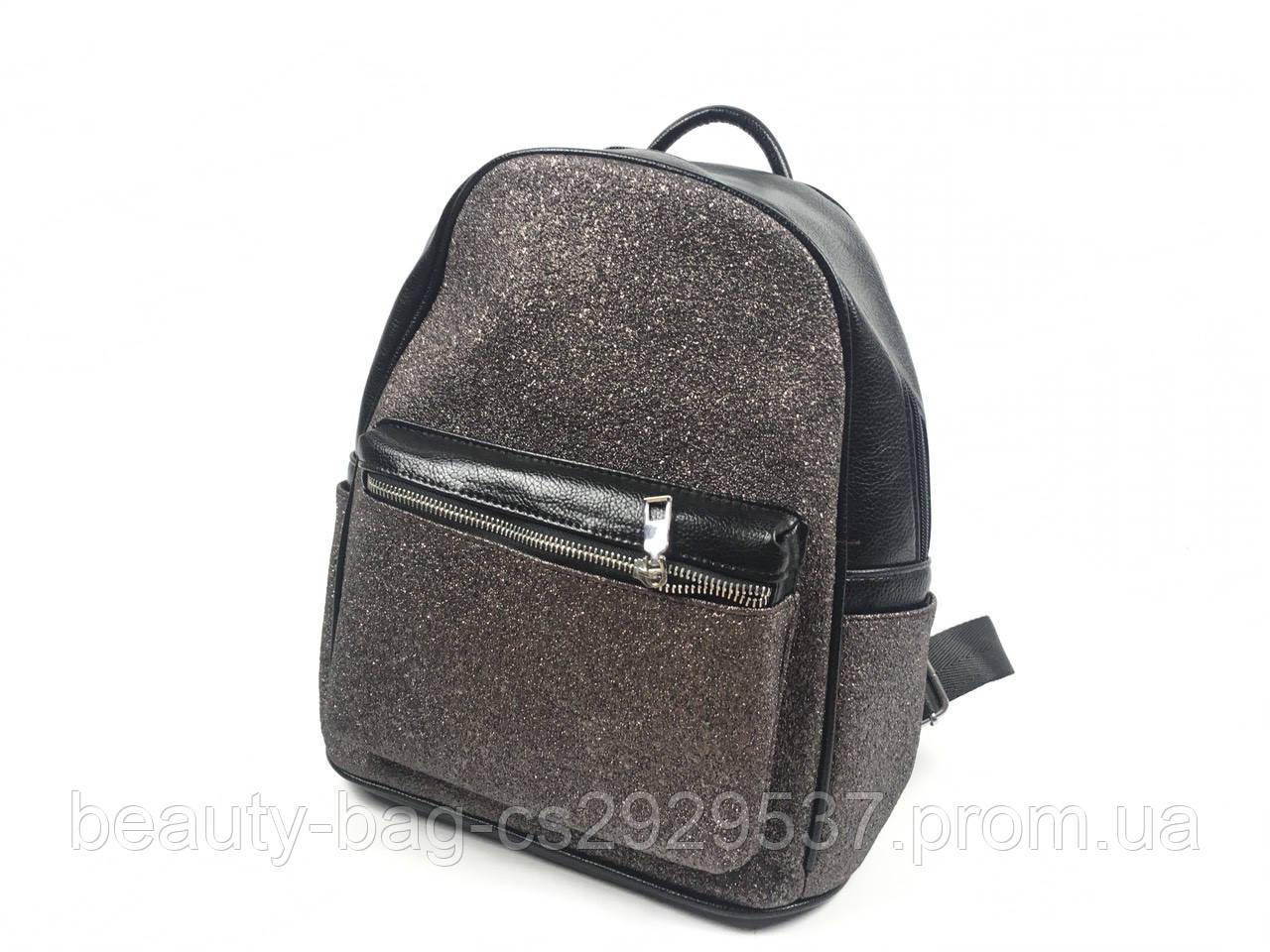 Рюкзак молодежный 6905 черный с напылением темное-серебро black